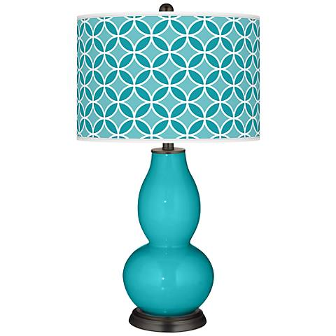 Surfer Blue Circle Rings Double Gourd Table Lamp