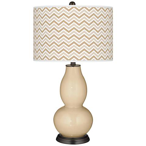Colonial Tan Narrow Zig Zag Double Gourd Table Lamp