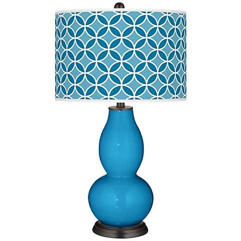 River Blue Circle Rings Double Gourd Table Lamp