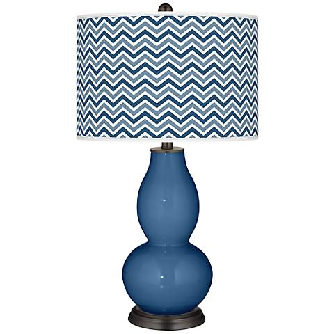 Regatta Blue Narrow Zig Zag Double Gourd Table Lamp