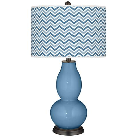 Secure Blue Narrow Zig Zag Double Gourd Table Lamp