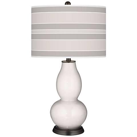 Smart White Bold Stripe Double Gourd Table Lamp