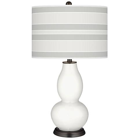Winter White Bold Stripe Double Gourd Table Lamp