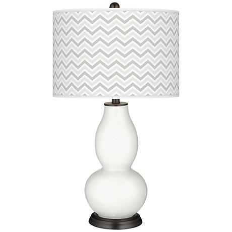 Winter White Narrow Zig Zag Double Gourd Table Lamp