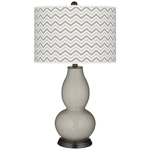 Requisite Gray Narrow Zig Zag Double Gourd Table Lamp