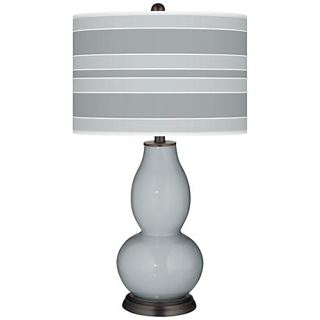 Uncertain Gray Bold Stripe Double Gourd Table Lamp