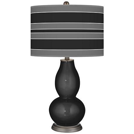Tricorn Black Bold Stripe Double Gourd Table Lamp