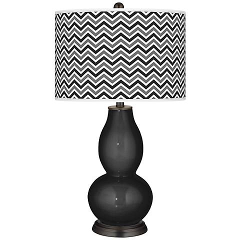 Tricorn Black Narrow Zig Zag Double Gourd Table Lamp