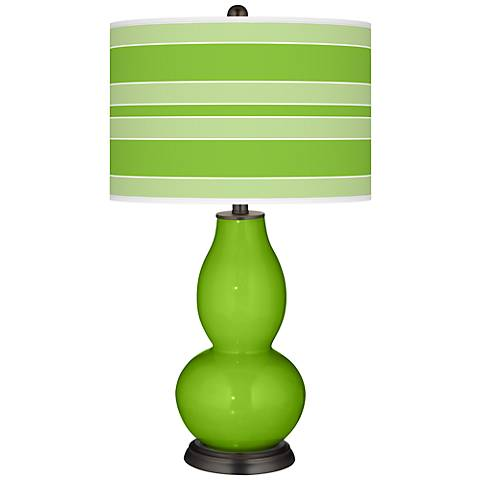 Neon Green Bold Stripe Double Gourd Table Lamp
