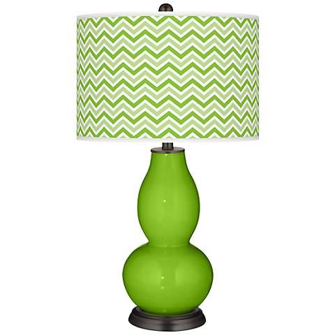 Neon Green Narrow Zig Zag Double Gourd Table Lamp