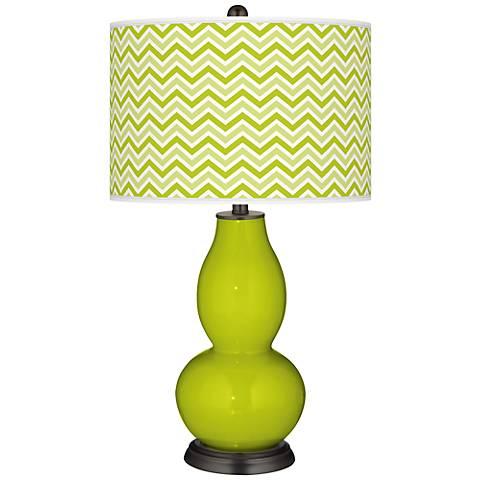 Pastel Green Narrow Zig Zag Double Gourd Table Lamp