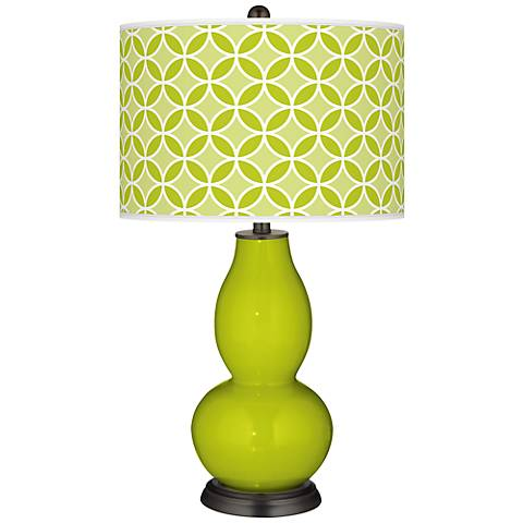 Pastel Green Circle Rings Double Gourd Table Lamp