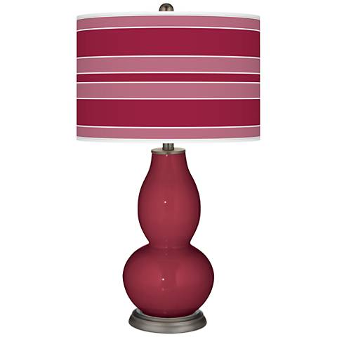 Antique Red Bold Stripe Double Gourd Table Lamp