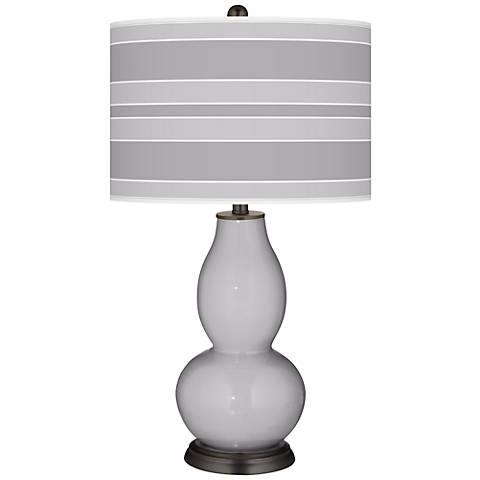 Swanky Gray Bold Stripe Double Gourd Table Lamp