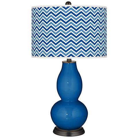 Hyper Blue Narrow Zig Zag Double Gourd Table Lamp