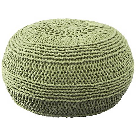 """Lime Green 20"""" Wide Roped Cotton Pouf Ottoman"""