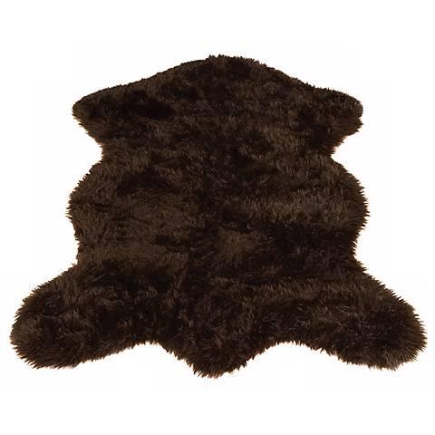 Brown Bear 021 Faux Fur Area Rug