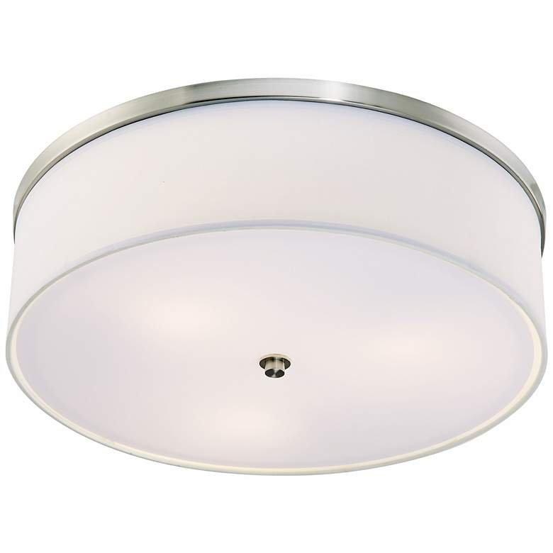"Energy Efficient White Fabric 20 1/4"" Wide Ceiling Light"