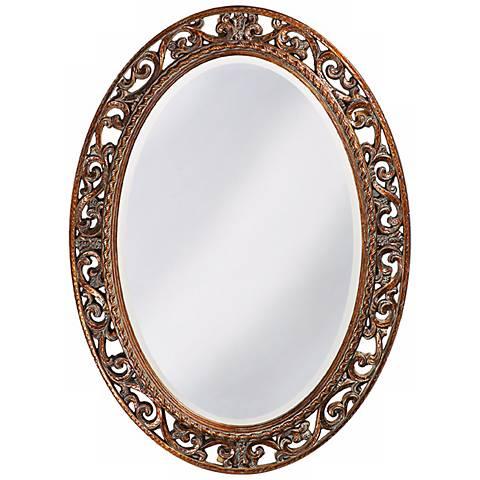 "Howard Elliott Suzanne Gold 27"" x 37"" Oval Wall Mirror"