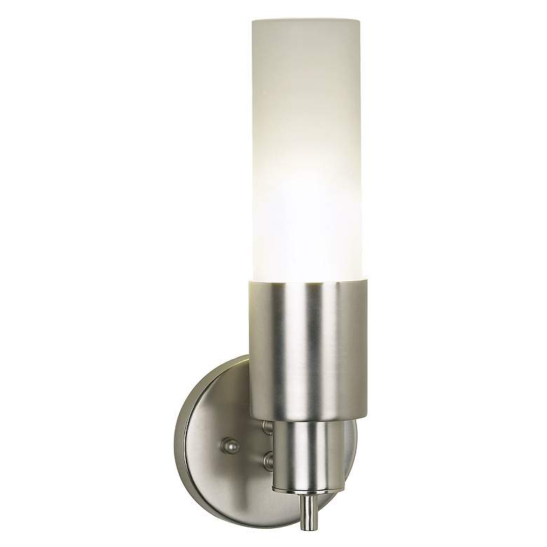 02729 - Brushed Steel Finish Frosted Glass Wall Sconce
