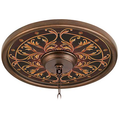 """Tracery Jewels 16"""" Wide Bronze Finish Ceiling Medallion"""