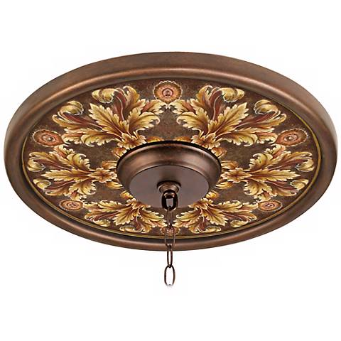 "Acanthus Noble Giclee 16"" Wide Bronze Ceiling Medallion"