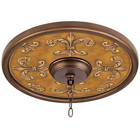 "Chias Fleur Giclee 16"" Wide Bronze Ceiling Medallion"