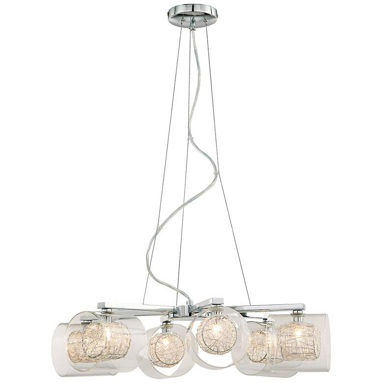 Possini Euro Design Wire and Glass Cylinder Chandelier