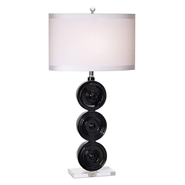 Kathy Ireland Tri Circle Glossy Black Table Lamp