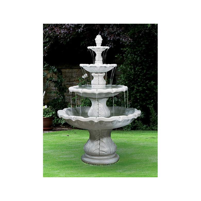 """Classical Finial 86"""" High Ivory Gray 4-Tier Outdoor Fountain"""
