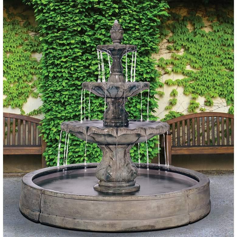 "Classical Finial 61""H Relic Nebbia Fountain in Valencia Pool"