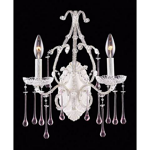"Opulence Two Light 12"" Wide White Rose Crystal Wall Sconce"