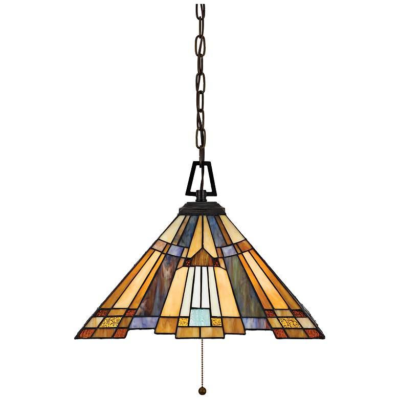 "Inglenook 17"" Wide Tiffany Style Art Glass Pendant Light"