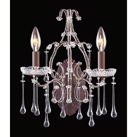 Opulence Two Light Bronze Clear Crystal Wall Sconce