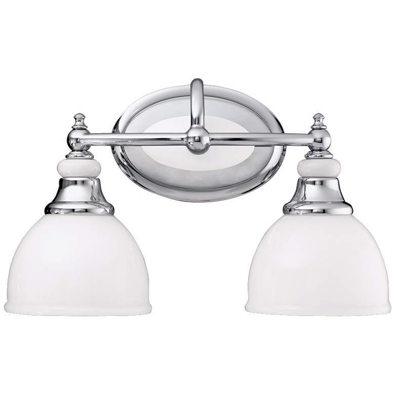 "Chrome and Cased Opal Glass 14 1/2"" Wide Bathroom Light"