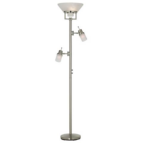 Brushed Nickel Two Swing Arm Torchiere Floor Lamp