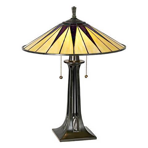 Quoizel Gotham Antique Bronze Tiffany Style Table Lamp