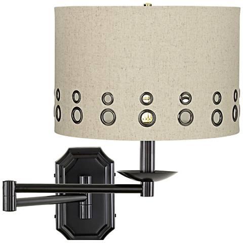 Beige Dual-Grommet Dark Bronze Plug-In Swing Arm Wall Lamp