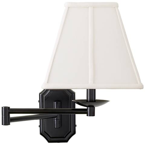 Dark Bronze White Shade Plug-In Swing Arm Wall Lamp