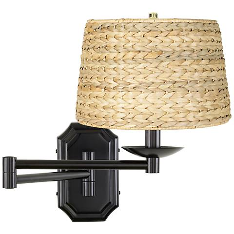 Woven Seagrass Dark Bronze Plug-In Swing Arm Wall Lamp