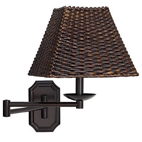 Bronze with Walnut Wicker Shade Plug-In Swing Arm Wall Lamp