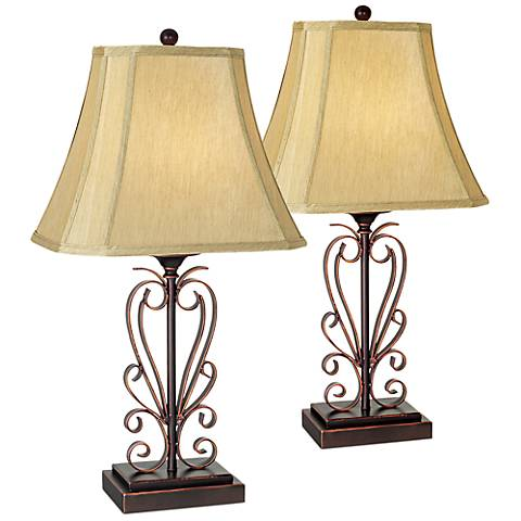 Franklin Iron Works Iron Scroll Table Lamps Set of 2 w/ 9W Bulbs