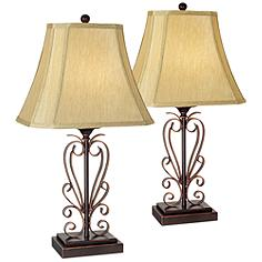 Set of Two Iron Scroll Table Lamps by Franklin Iron Works