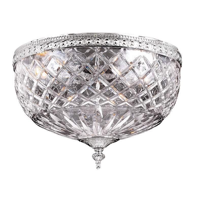 "Lead Crystal 12"" Wide Flushmount Ceiling Light Fixture"