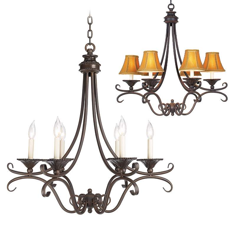 """Cottage Bronze and Copper 27 1/2"""" Wide Six Light Chandelier"""