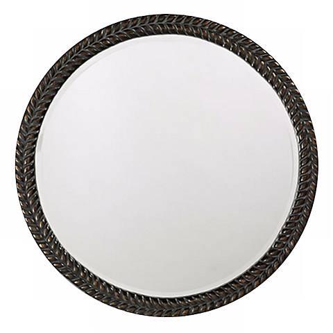 """Lisbon Antique Black 32"""" Round Wall Mirror"""