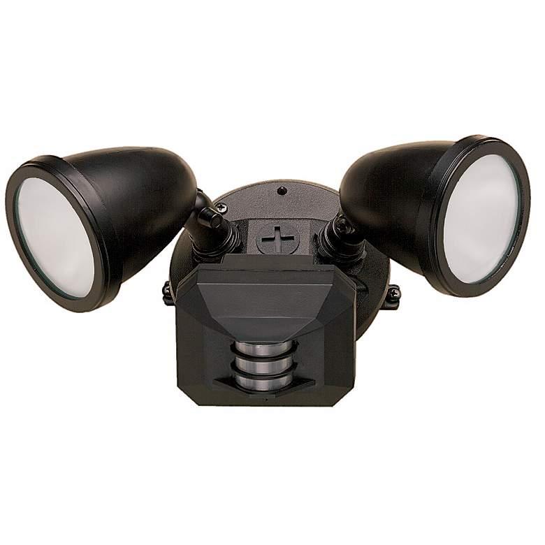 Two Light Black Outdoor Spotlight with Motion Sensor