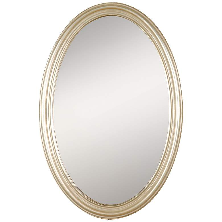"""Uttermost Franklin Antique Silver 21"""" x 32"""" Oval Wall Mirror"""