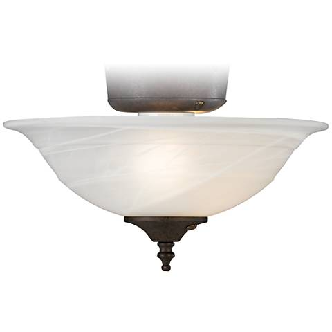 Alabaster Bowl Multi Cap Finish Pull Chain Light