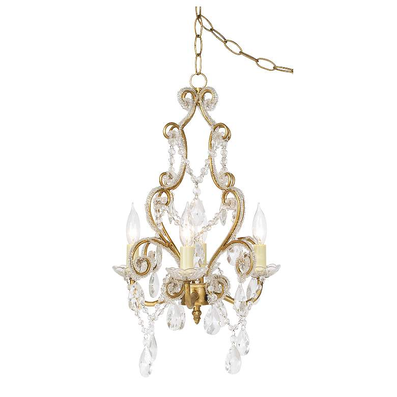 """Leila 11"""" Wide Antique Gold Beaded Plug-in Swag Chandelier"""